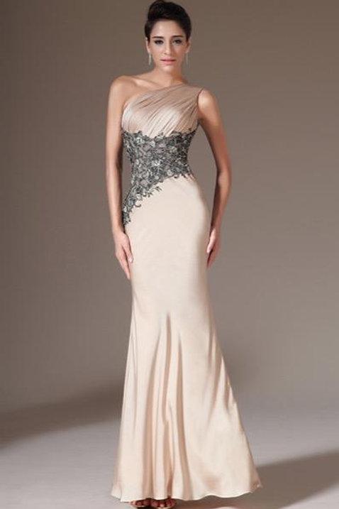 Champagne One-Shoulder Sheath Evening Dress(00142314)