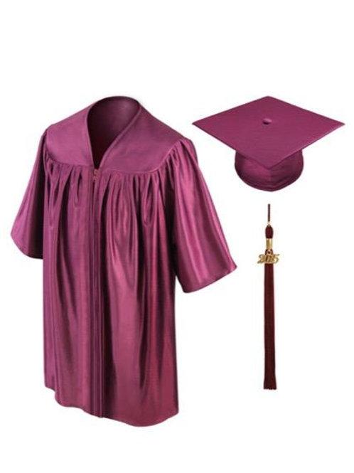 Maroon Shiny Child Graduation Gown, Cap & Tassel