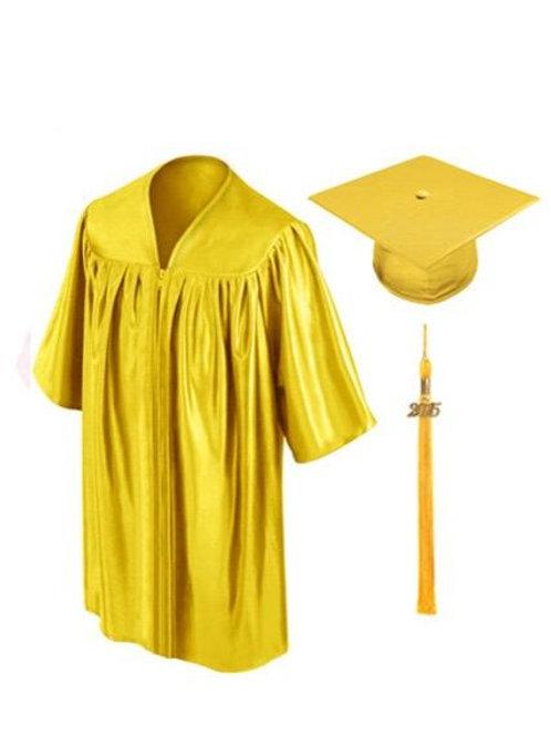 Gold Shiny Child Graduation Gown, Cap & Tassel