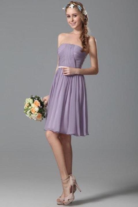 Flattering Strapless Short Lavender Bridesmaid Dress (07150206)