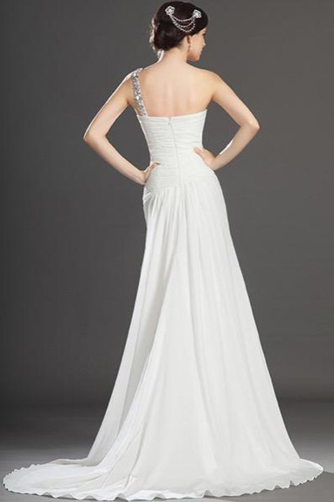 New Fabulous High Split White Evening Dress (00131907)