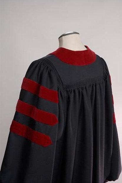 Generic Doctoral Gown, Black Gaberdine And Red Velvet, Geneva Style Gown