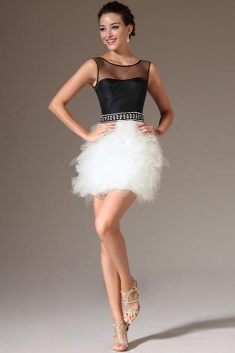 Sheer Top Black & White Cocktail Dress (04141007)