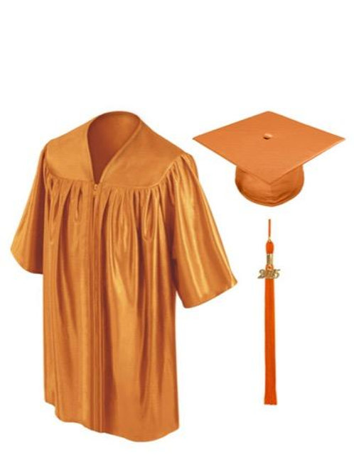 Orange Shiny Child Graduation Gown, Cap & Tassel