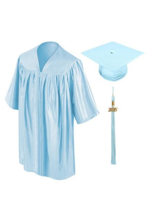 Light Blue Shiny Child Graduation Gown, Cap & Tassel