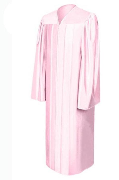 Pink Satin Graduation Gown