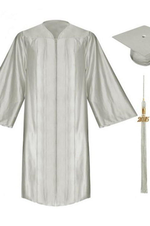 Silver Satin Graduation Gown, Cap And Tassel