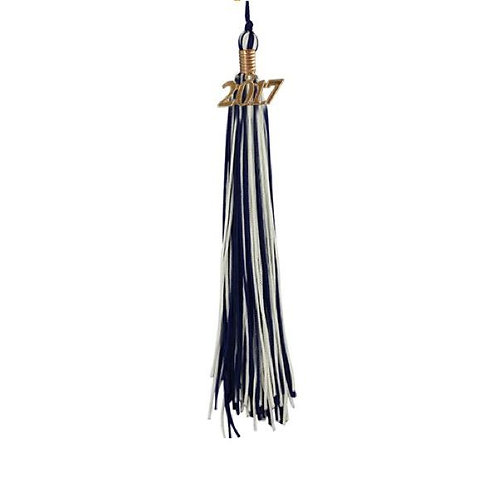 Navy & White Double Tassel