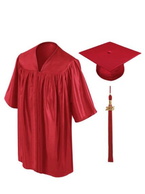 Red Shiny Child Graduation Gown, Cap & Tassel