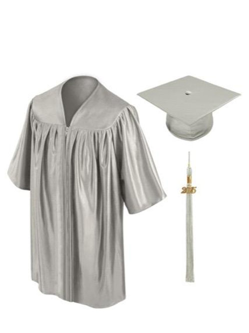 Silver Shiny Child Graduation Gown, Cap & Tassel