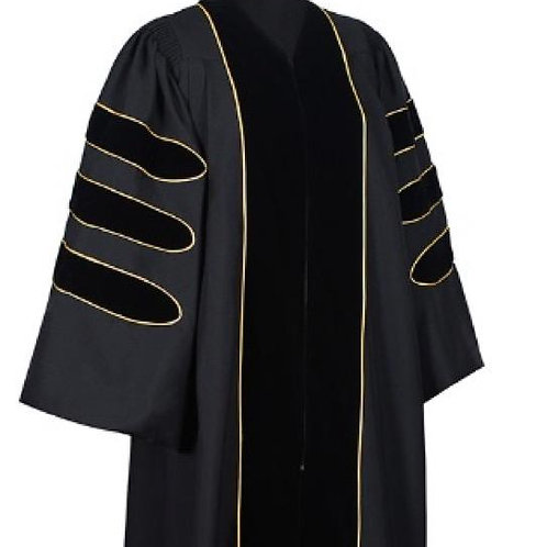 Phd Black Gown W Black Velvet And Gold Piping