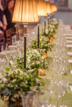White and green spring long table