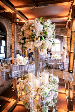 Tall White Mirror Floral Table Centre