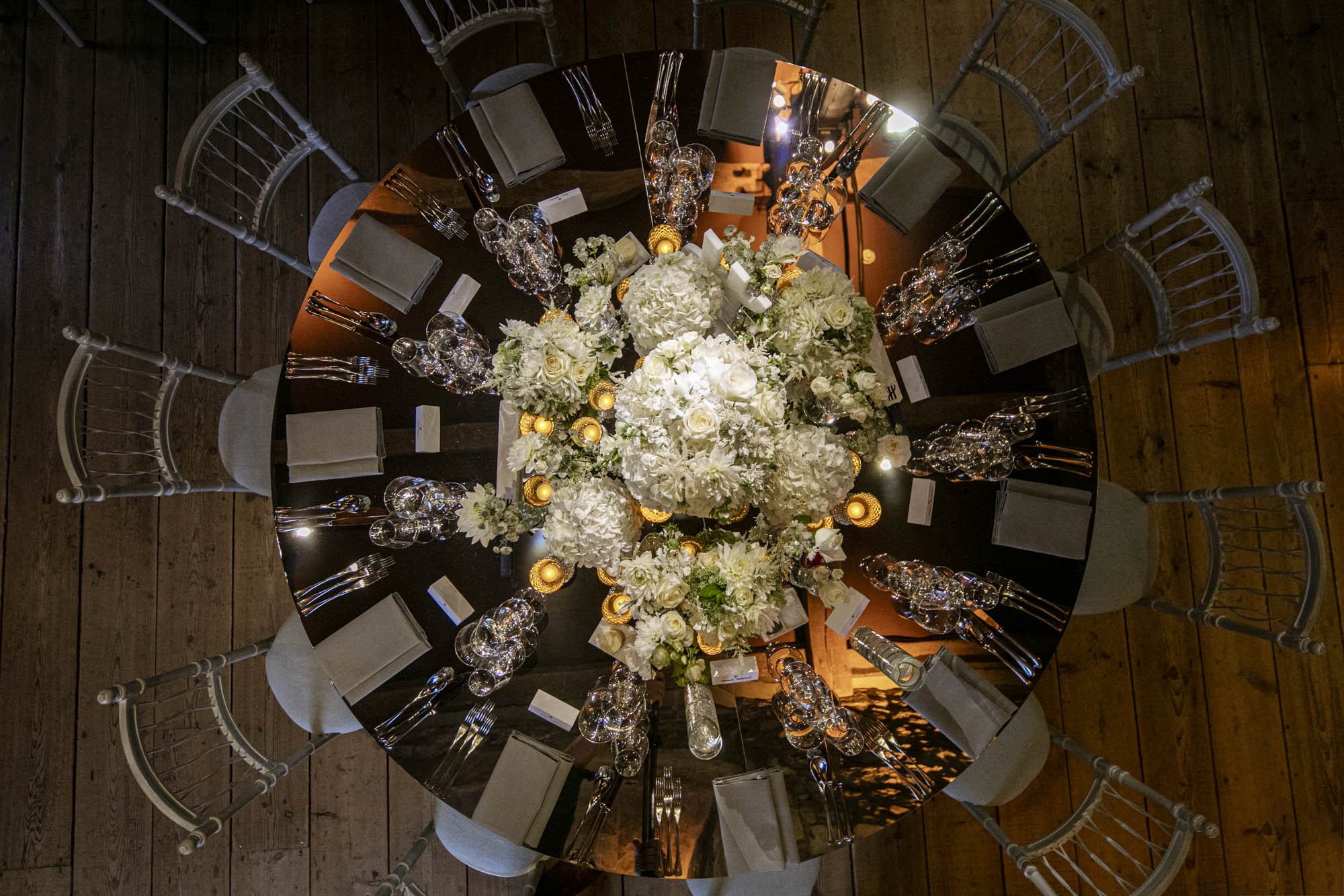 Mirror white floral table centre