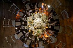 Mirror white floral table centre