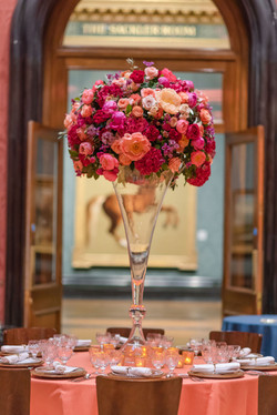 Tall pink toned table centre