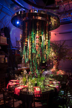 Ribbon Chandelier Floral Suspended Table Centre