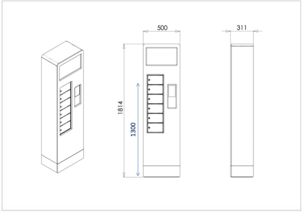 Dimensions de la ChargeBox