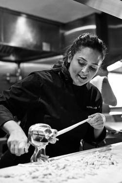 Chef Antonia Lofaso in the kitchen