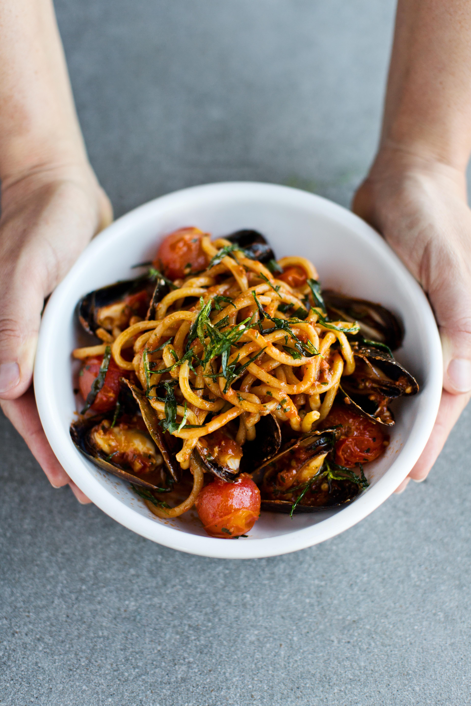 Bowl of seafood pasta