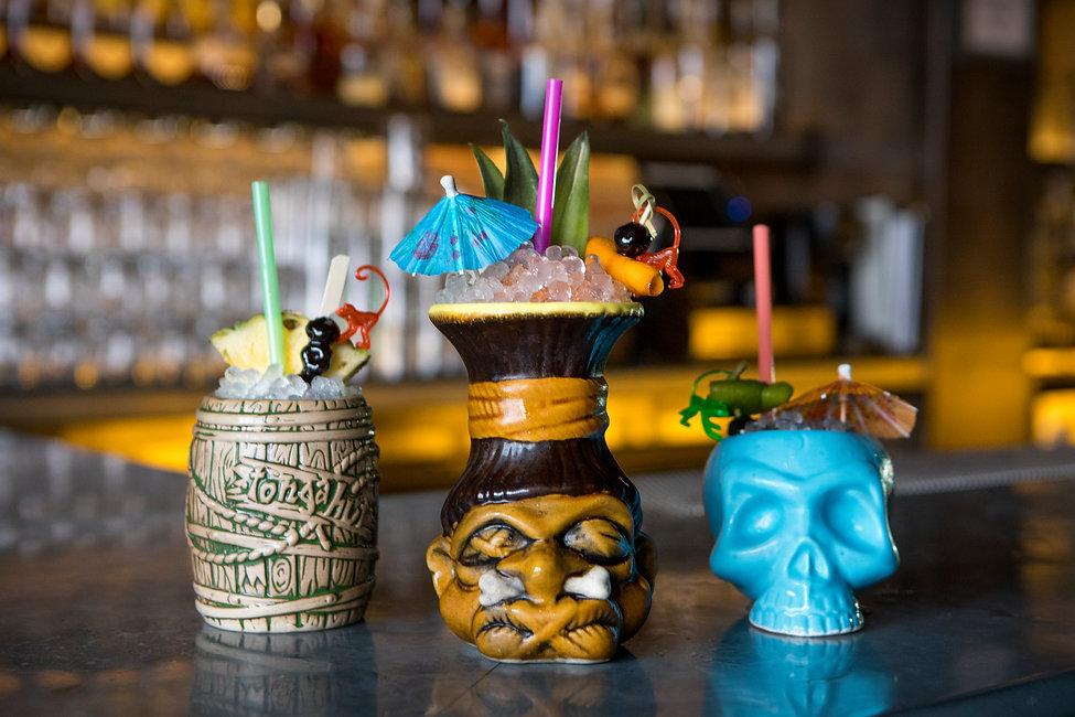 Tropical tiki drinks in retro drinkware