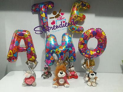 sorprendiendo, globos metalizados letras, letras metalizadas, detalles con globos