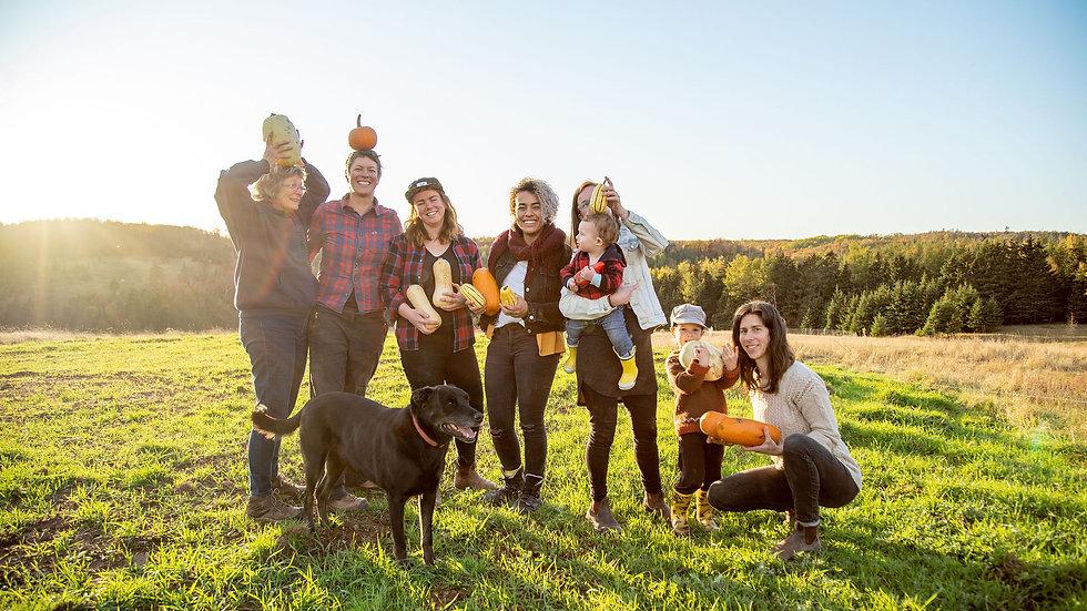 Organic Farm Farming PEI Prince Edward Island Crew Friends Squash Fall Fun Family