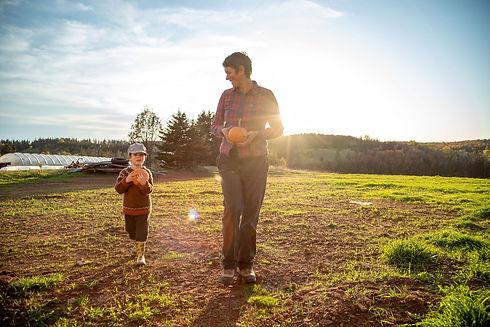 Farmer Woman child squash pumpkin Prince Edward Island PEI