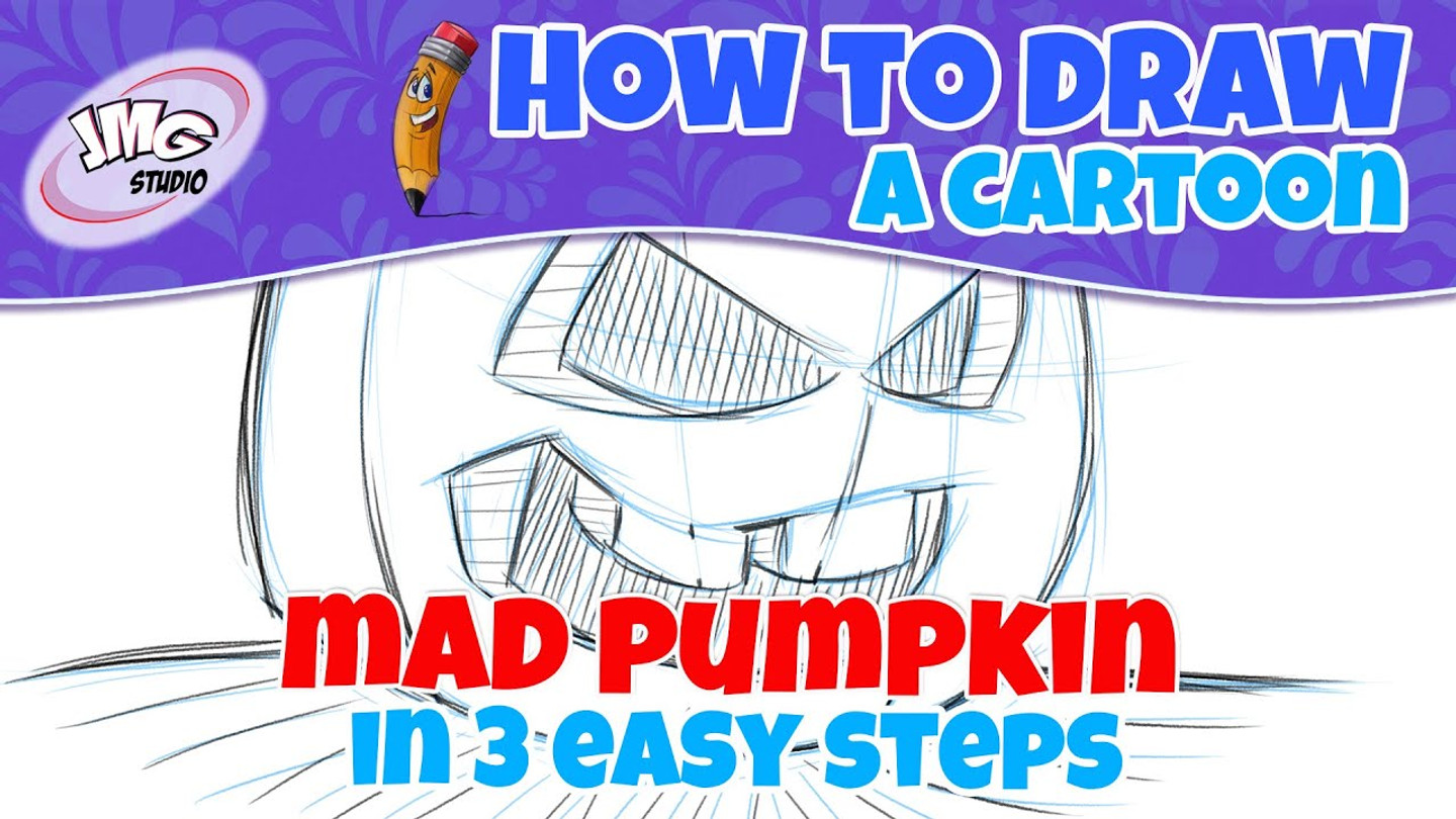 How to draw a mad pumpkin cartoon