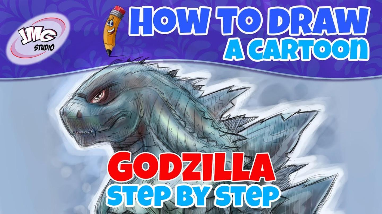 How to draw a cartoon Godzilla