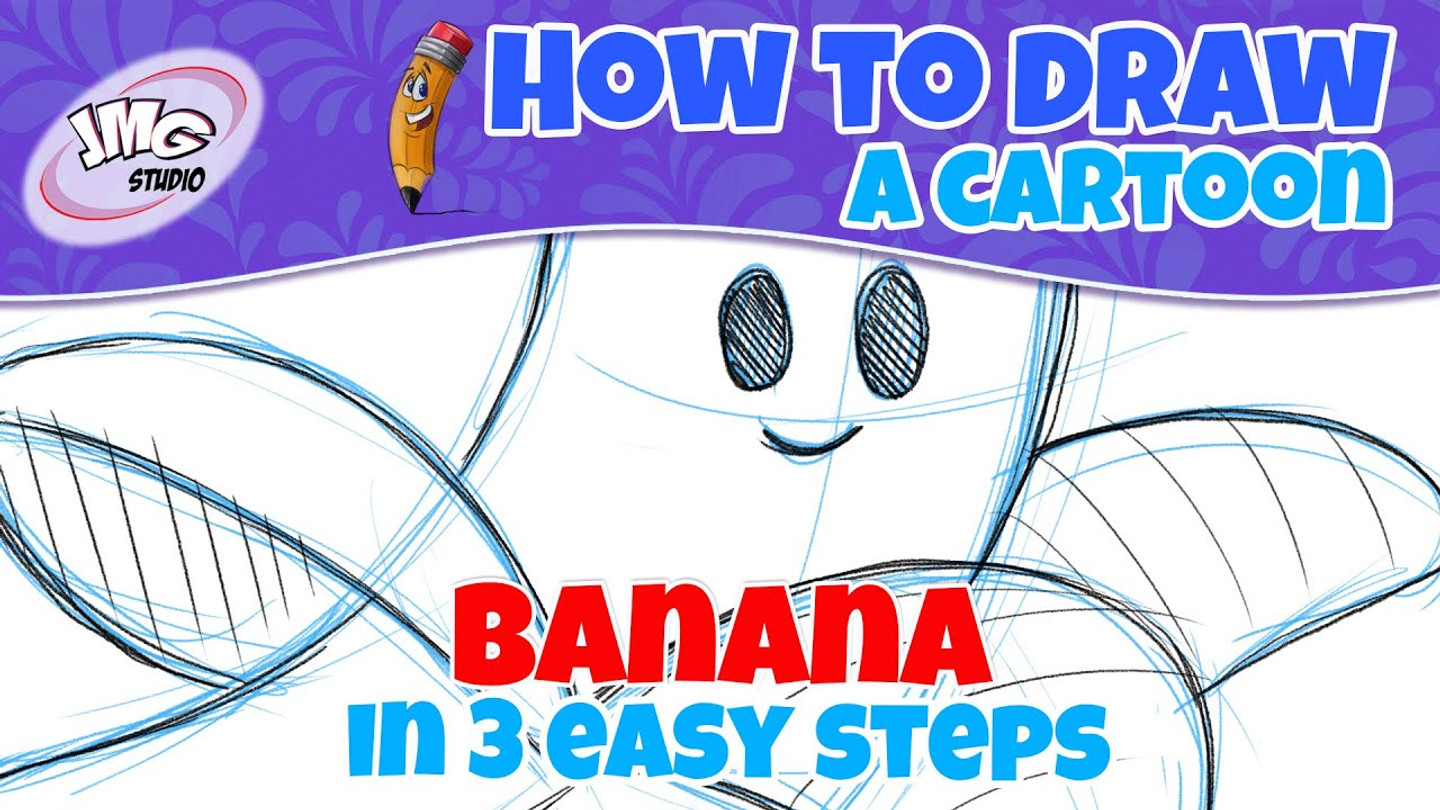 How to draw a cartoon banana