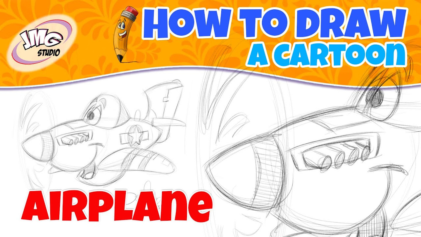 How to draw a cartoon airplane
