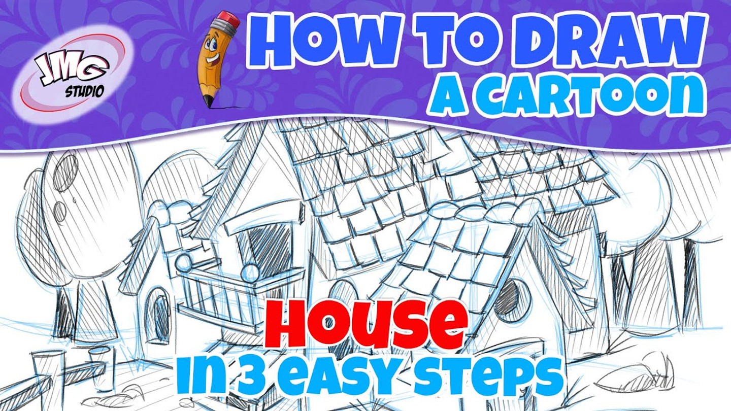 How tpo draw a cartoon house in 7 easy sets
