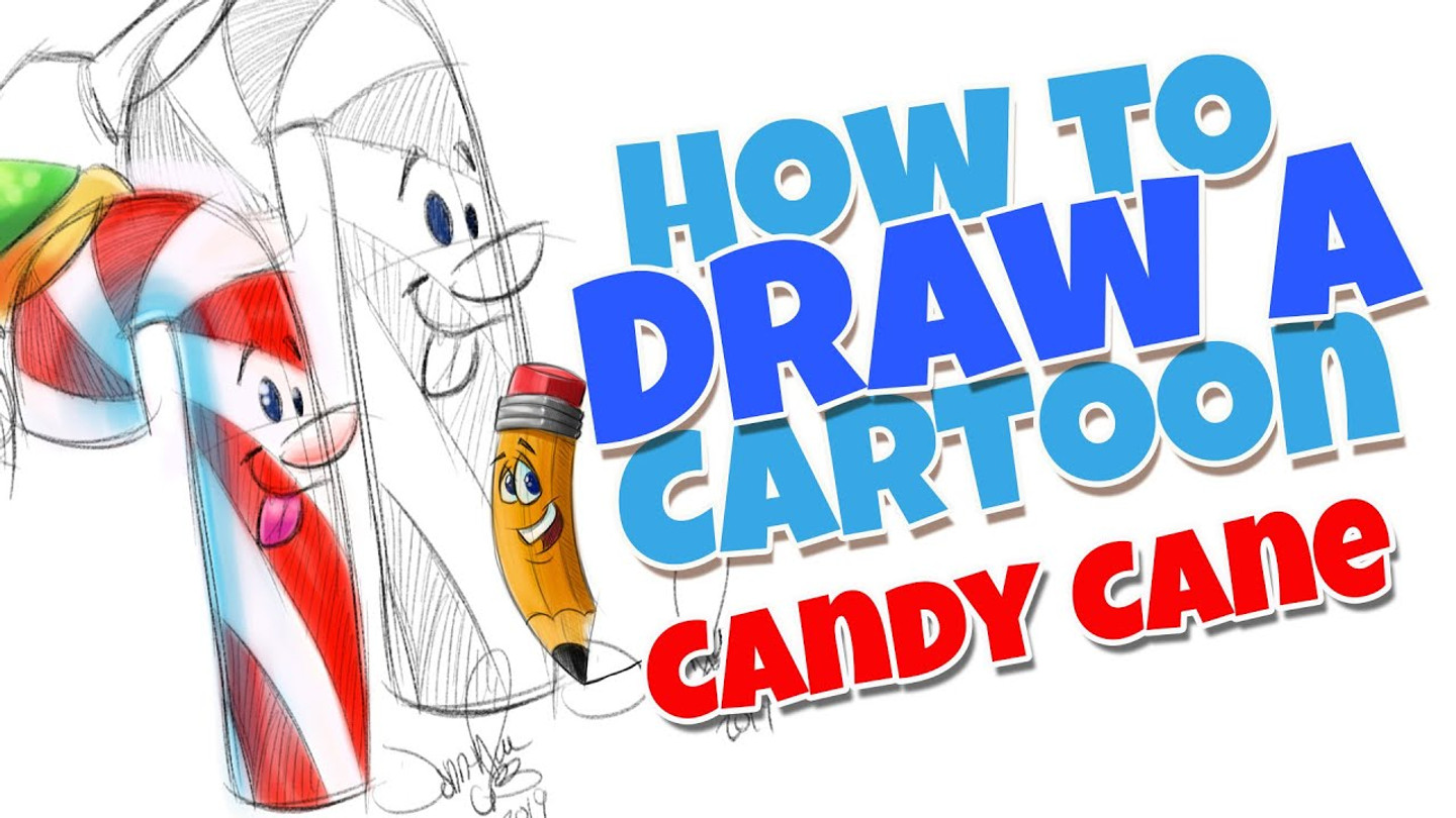How to draw a cartoon candy cane