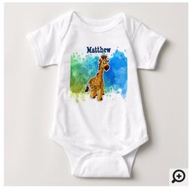 Custom Giraffe Baby Bodysuit