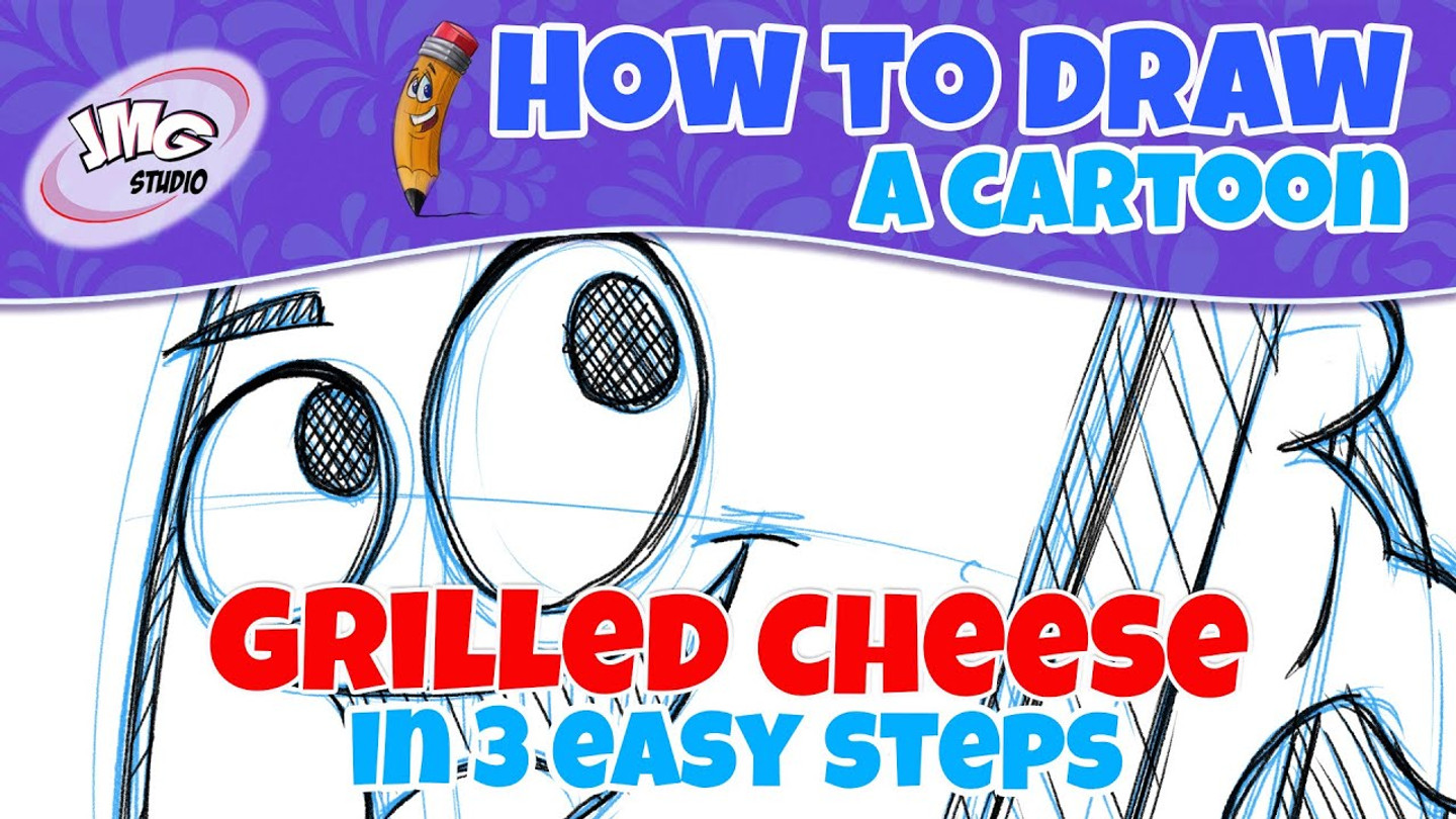 How to draw a cartoon grilled chesse