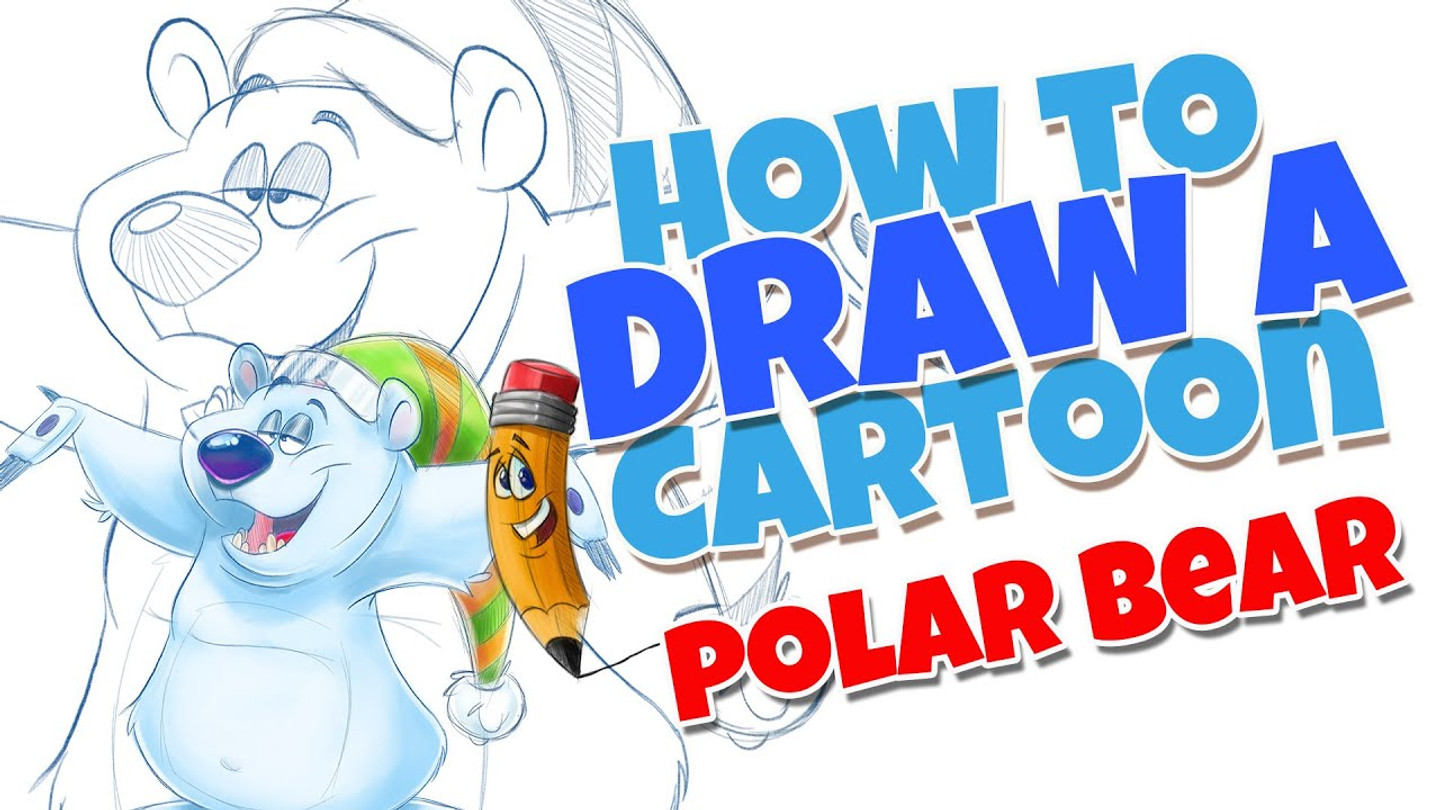 How to draw a cartoon polar bear