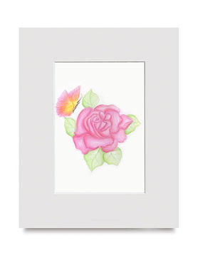 Pink flower frame art