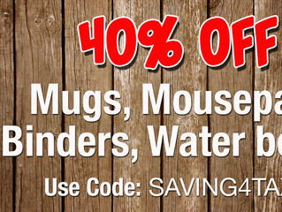 40% off on Mugs, Mousepads, Binders, Water Bottles ... and more