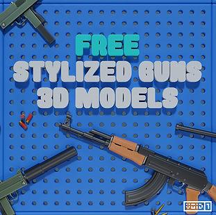 Free Stylized Guns 3D Models Square copy