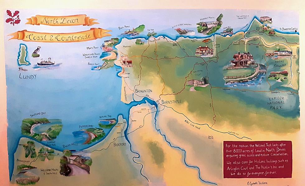 National Trust North Devon Map Mural