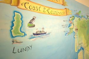 Lundy National Trust heddon map mural El