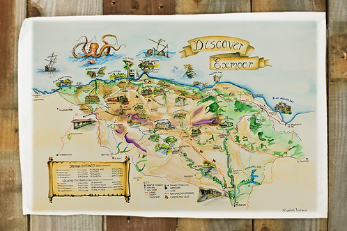 10 x Discover Exmoor map - tea towel with belly band
