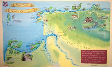 Map mural National Trust North Devon Coa