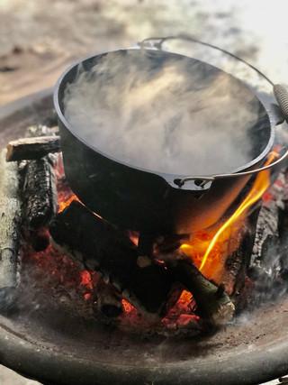 firepit cooking dutch oven venison forag