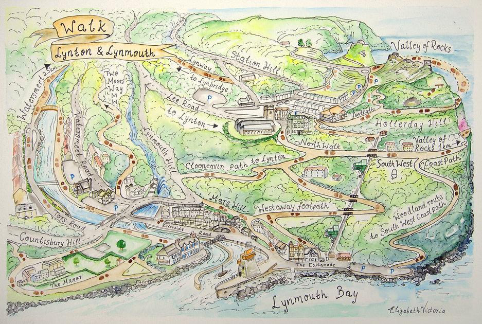 Walk Lynton & Lynmouth map Elizabeth Vic