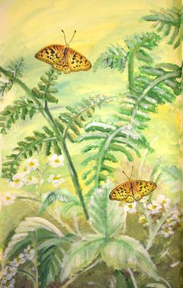 High Brown two butterflies mural Nationa