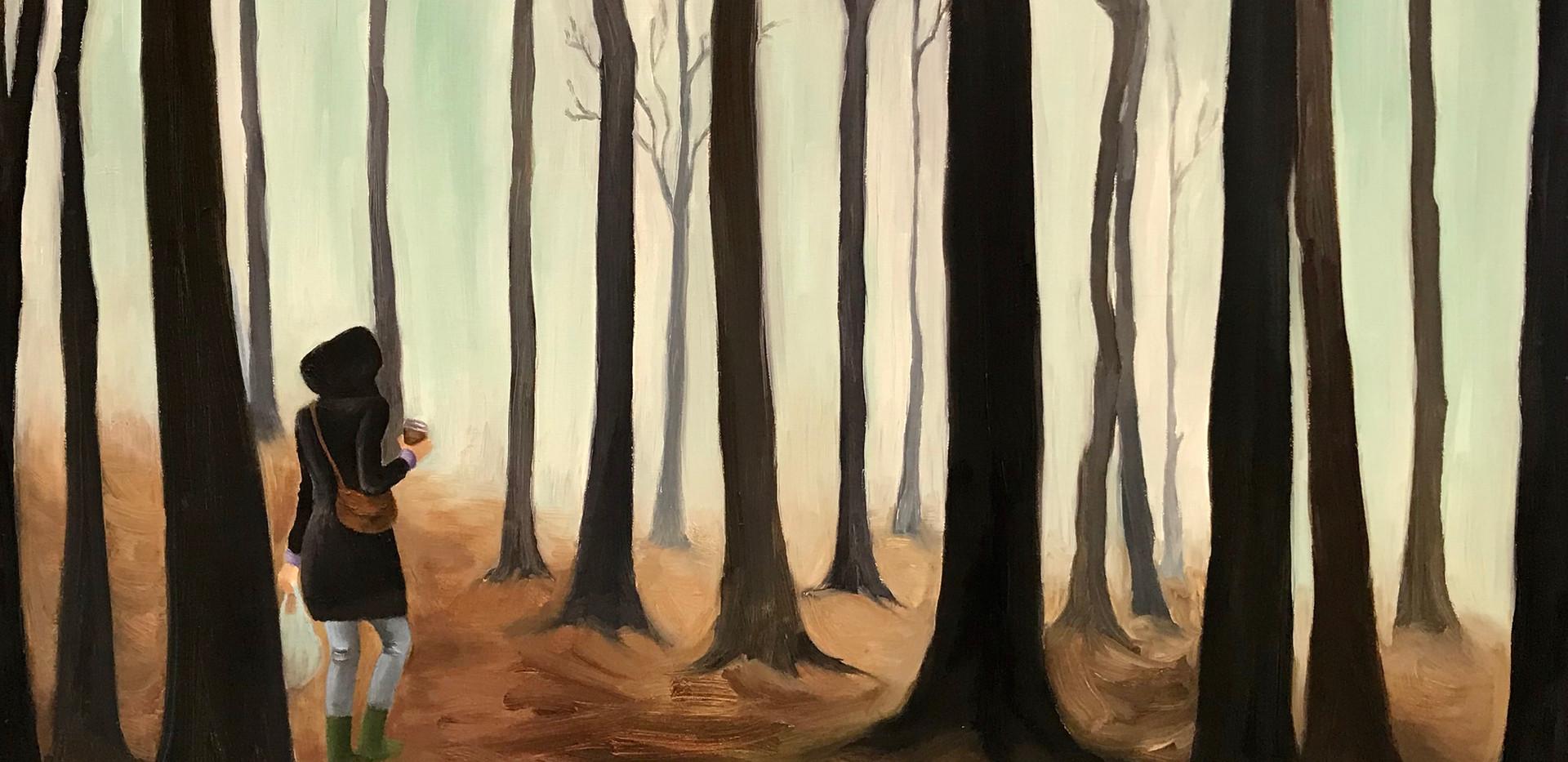 Yksin, Alone, 2011, 92cm x 89cm, öljy kankaalle