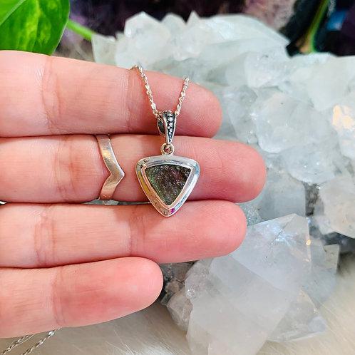 Triangle Moldavite Sterling Silver Necklace