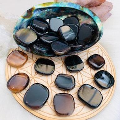 Black & Brown Onyx Mini Worry Stone